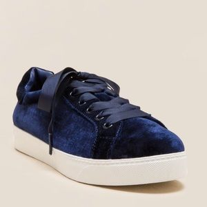 Navy Blue Velvet Lace Up Sneakers